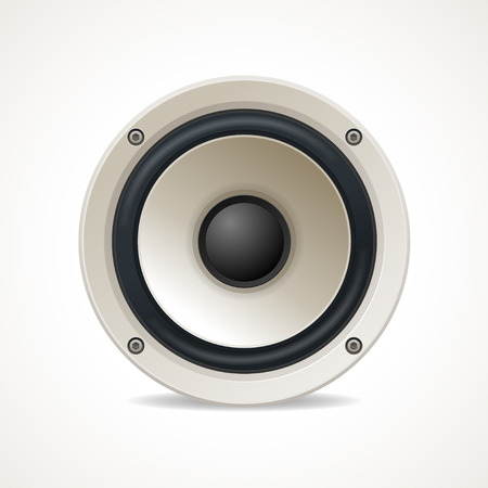 disco speaker: Vector illustration Vintage White Audio Speaker. Great sound Illustration