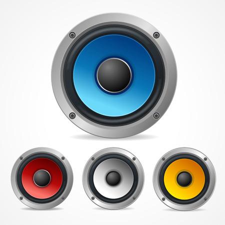 woofer: Vector illustration Audio Speaker Set isolated on white background. Illustration