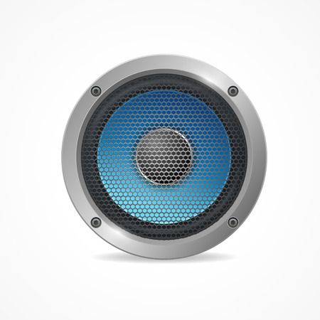loud speaker: Vector illustration Audio Speaker with grid isolated on white background.