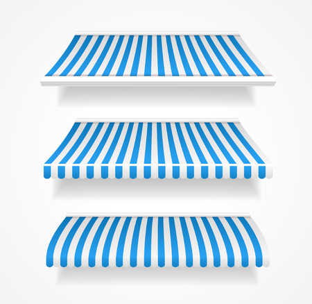 window shade: Vector illustration colorful striped awnings for shop set blue Illustration