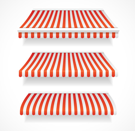 Vector illustration colorful detailed awnings for shop and  restaurants set red