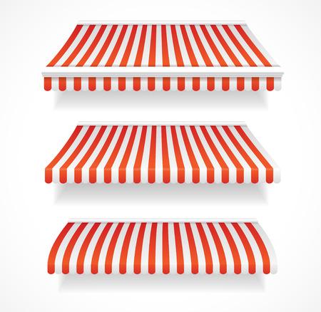 Vector illustratie gedetailleerde kleurrijke luifels voor de winkel en restaurants set rood