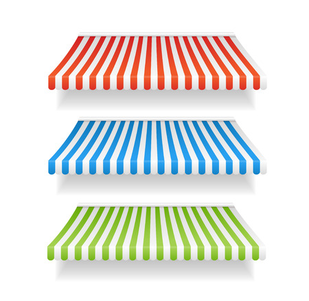 awnings: Vector illustration colorful awnings for shop set different types