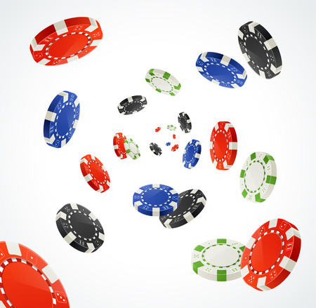 casinos: Vector illustration Pocker Chips Rain Winner Concept isolated on white. Gambling Chips for your designs