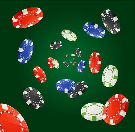 fichas casino: Ilustración del vector de Pocker Chips de lluvia concepto del ganador aislado en verde oscuro. Virutas de juego para sus diseños Vectores