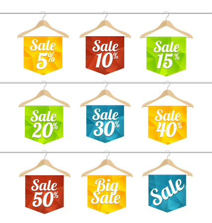 Vector illustration sale labels on hangers set. The concept of price reduction, discount