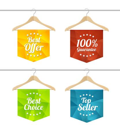 hangers: Vector illustration sale labels on hangers set. The concept of seasonal sales Illustration