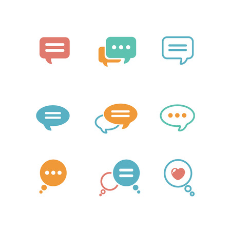comunicación: Ilustración del vector del icono de la burbuja del discurso fijada en el fondo blanco aislado. estilo de diseño plano Vectores