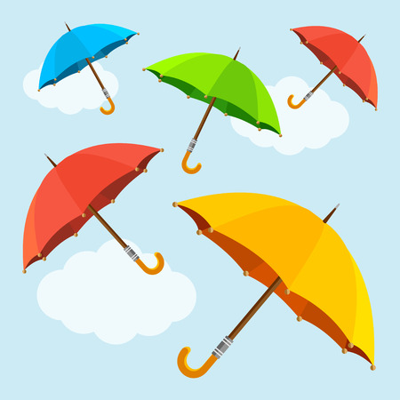 volar: Vector ilustración mosca colorido, el alza de los paraguas de fondo. Diseño plano