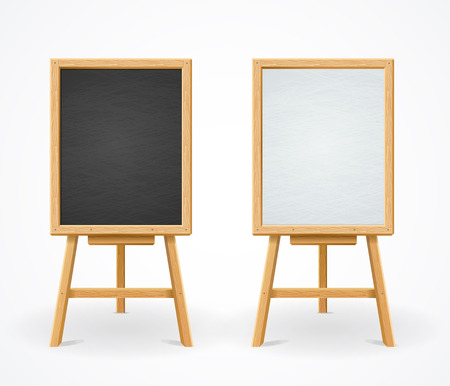 Black Board and White Set On Easel Front View Vectores