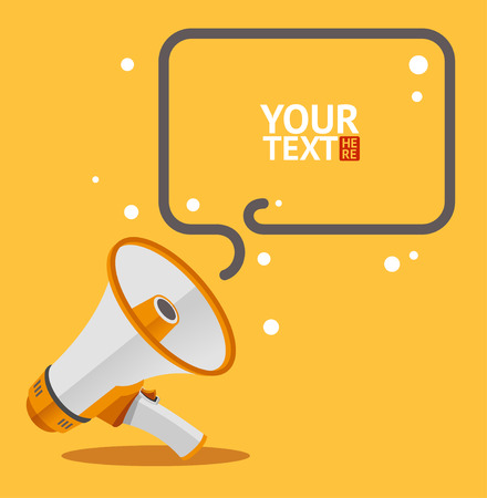 public: Megaphone text bubble card. Flat Design Illustration