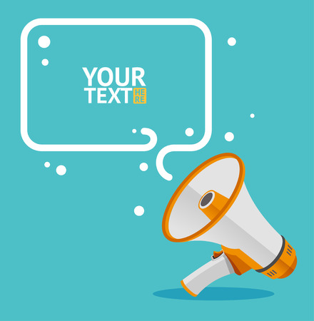 announcement icon: Megaphone text bubble card with place for text Illustration
