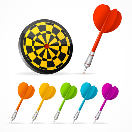 dart board: Set of colored Darts and target