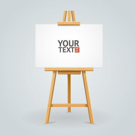 seminar: Wooden easel isolated on grey background with place for your text. Vector illustration