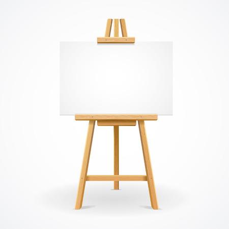 Houten schildersezel sjabloon voor tekst of advertentie. Vector illustratie Stock Illustratie