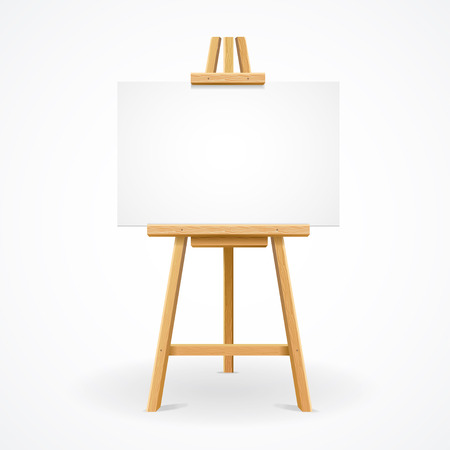Wooden easel template for text or ad. Vector illustration