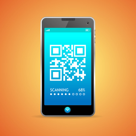 barcode scanner: Barcode scanner phone isolated on orange background. Vector illustration