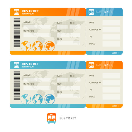 bus tour: Bus ticket isolated on white background.  Design Template. Vector illustration
