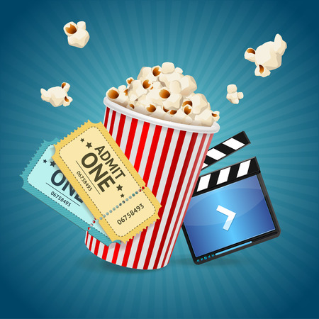 movie and popcorn: Cinema concept. Poster template with film clapper, popcorn, tickets. Vector illustration Illustration