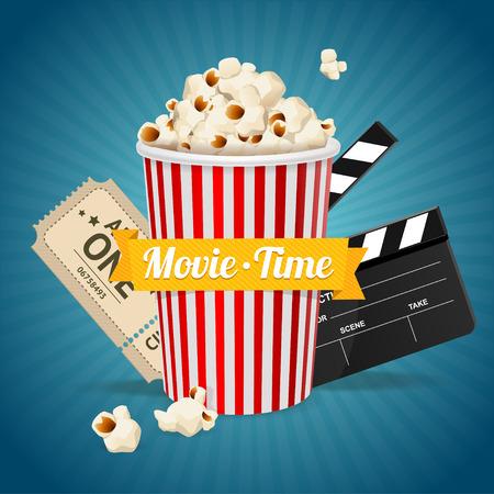 biglietto: concetto di cinema e nastro con la scritta al centro. illustrazione di vettore