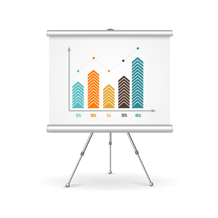 business chart: Flip chart business concept. Demonstration of the results. Vector illustration