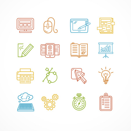 web site design: Design web site development theme colorful icon set. Vector illustration Illustration