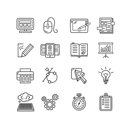development: Design web site development theme icon set. Vector illustration