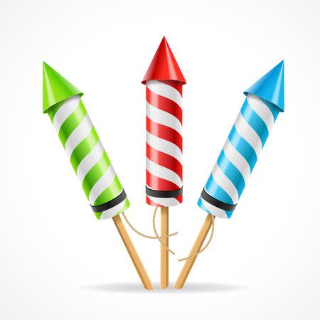 fuegos artificiales: Establece los fuegos artificiales del cohete. El atributo de diversi�n. Ilustraci�n vectorial