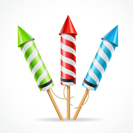 pyro: Fireworks rocket set. The attribute of fun. Vector illustration