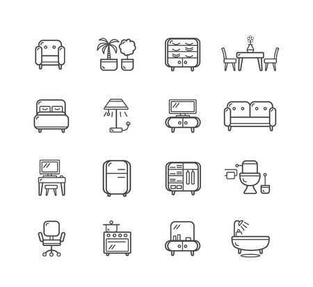 a toilet stool: Flat Line Icons Furniture for Mobile, Web And Applications . Vector illustration