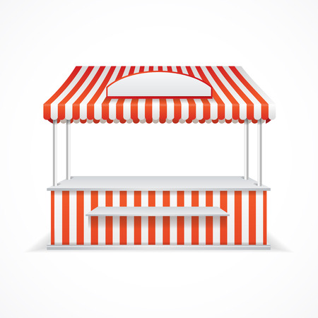 vitrine: Market stall with red and white stripes. Vector illustration