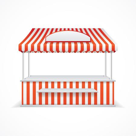 bancarella: Stalla del mercato con strisce bianche e rosse. Illustrazione vettoriale