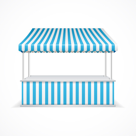 Market stall with blue and white stripes. Vector illustration