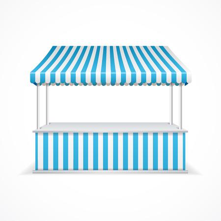 bancarella: Stalla del mercato con strisce blu e bianche. Illustrazione vettoriale