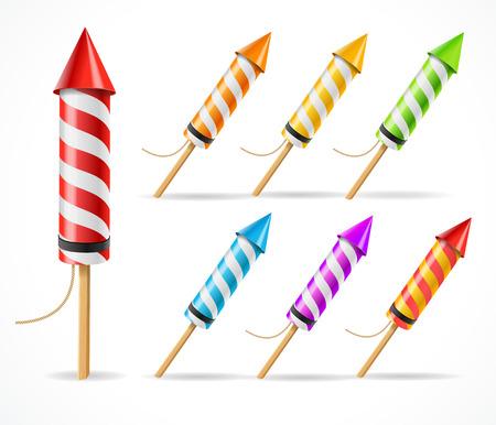 squib: Fireworks rocket set a symbol of celebration. Vector illustration