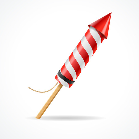 Firework red rocket  isolated on white background.Concept of fun party. Vector illustration Ilustracja