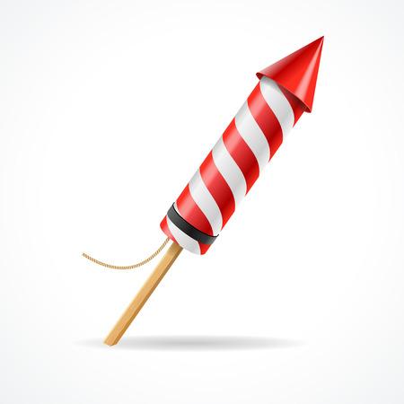 Vuurwerk raket rood op wit wordt geïsoleerd background.Concept plezier partij. Vector illustratie