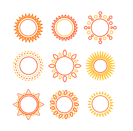 warmth: Sun set outline icon isolated on white background. Symbol of warmth and light. Vector illustration
