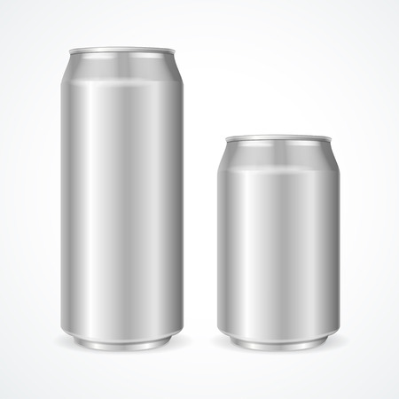 drinking soda: Aluminum Cans Empty 500 and 330 ml. Vector illustration Illustration