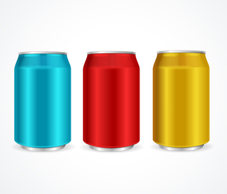alum�nio: Aluminum Colorful Cans Template Isolated on White Background. Vector illustration Ilustra��o