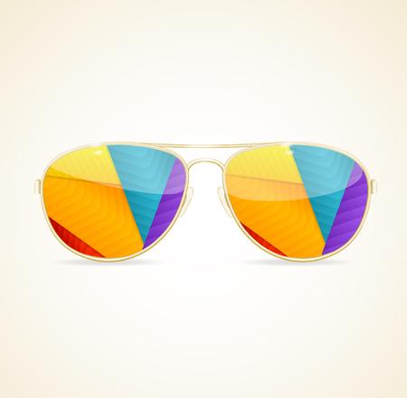 sun glasses: Aviator Sunglasses Gold Concept. Stylish summer accessory. Vector illustration Illustration