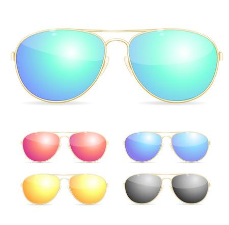 gafas de sol: Aviator Gafas de sol coloridas Conjunto. Un elemento necesario para una fiesta de la playa. Ilustración vectorial