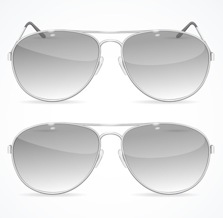 eyewear fashion: Aviator Sunglasses Set, Classic Black Color. Vector illustration