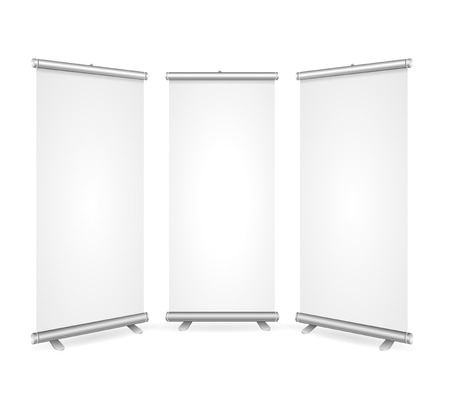 Blank Roll Up Banner 3 Display View Template. Ready for Your Presentations, Demonstrations, Reports. Vector illustration Çizim
