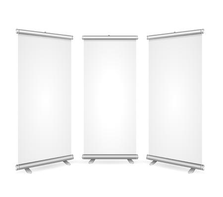In bianco rotoli in su la bandiera 3 Display modello vista. Pronto per le vostre presentazioni, dimostrazioni, Reports. illustrazione di vettore