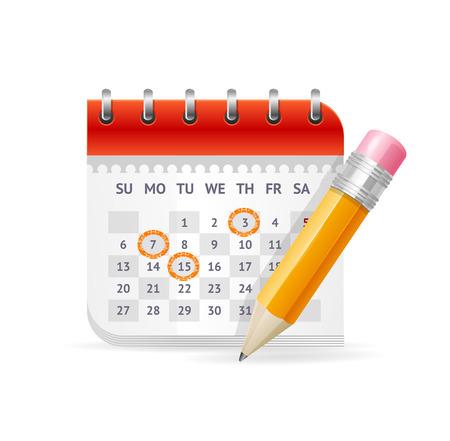 calendrier: Calendrier Concept. Le rendez-vous des réunions importantes. Vector illustration