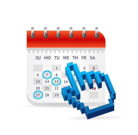 conversaciones: Calendario Concepto de negocio. El Calendario de Conferencias, reuniones y Transacciones. Ilustración vectorial Vectores