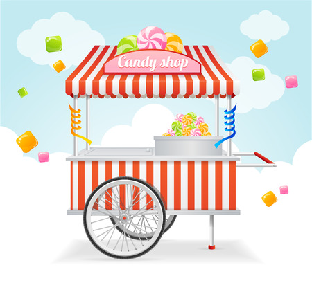 stores: Candy Cart Market Card. Sale of Sweets and Candies on the Street. Vector illustration Illustration