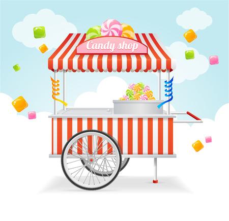 Candy winkelwagen Market Card. Verkoop van snoep en snoepjes op de straat. Vector illustratie