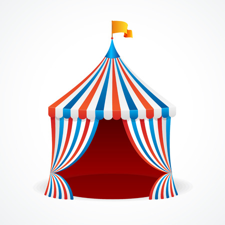 cirque: Circus Tent in Red and Blue and White Stripes Isolated on Background. Vector illustration